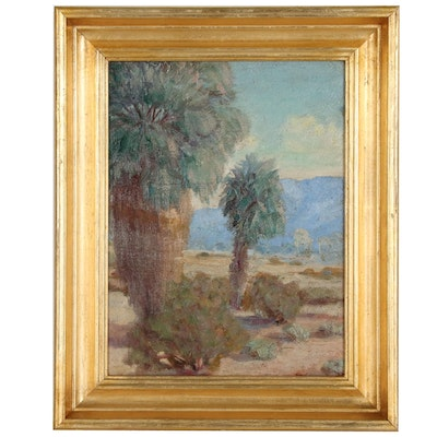 Desert Landscape Oil Painting, Mid 20th Century