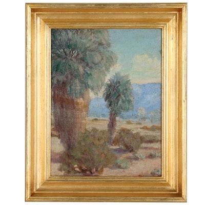 Desert Landscape Oil Painting, Mid 20th Century