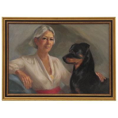 "Katharine Grove Sailer Oil  Painting ""Anna Danzer Tilghman and her Rottweiler"""