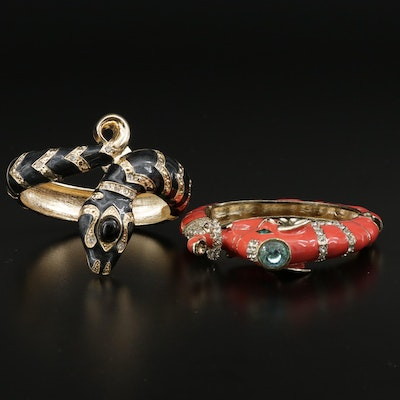 Rhinestone and Enamel Hinged Bracelets Featuring Elephant and Snakes Designs