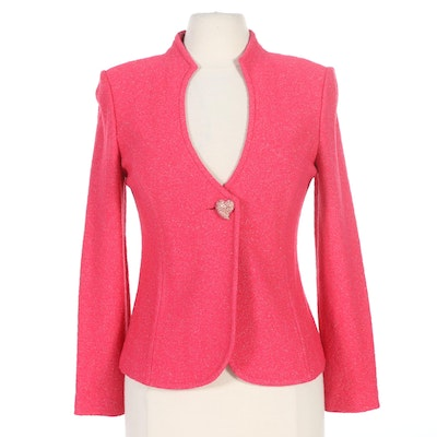 St. John Pink Metallic Santana Knit Jacket with Rhinestone Heart Button