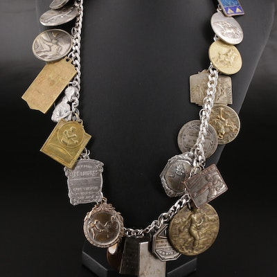 Sterling Charm Bracelet with Assorted Vintage Sporting Medallions