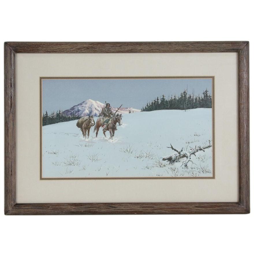 Austin Deuel Landscape Gouache Painting of Traveler on Horseback
