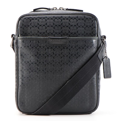 Coach Heritage Signature Embossed PVC Flight Bag in Black with Leather Trim