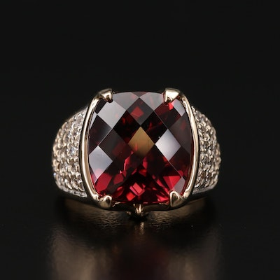 14K 13.06 CT Tourmaline, 1.17 CTW Diamond and Sapphire Ring
