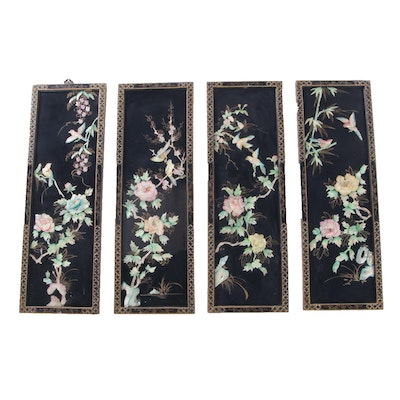 Chinese Lacquered Wood and Carved Shell Wall Panels