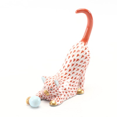"Herend Rust Fishnet ""Cat with Ball"" Porcelain Figurine, Mid to Late 20th Century"
