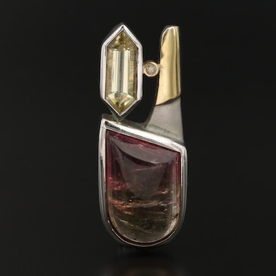 Sterling Bi-Color Tourmaline, Heliodor, and Diamond Pendant With 18K Accents