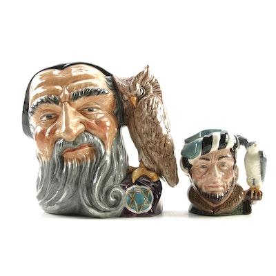 "Royal Doulton ""The Falconer"" and ""Merlin"" Character Jugs"