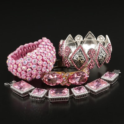 Assorted Rhinestone and Cubic Zirconia Bracelets with a Pink Motif