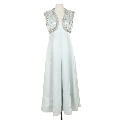 Montaldo's Rhinestone and Pale Blue Satin Panel Evening Gown, 1960s Vintage