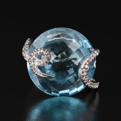 14K Topaz and Diamond Cocktail Ring