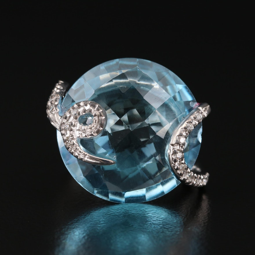 14K Topaz and Diamond Cocktail Ring