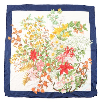 Gucci Silk Scarf in Autumn Botanical Multicolor Print