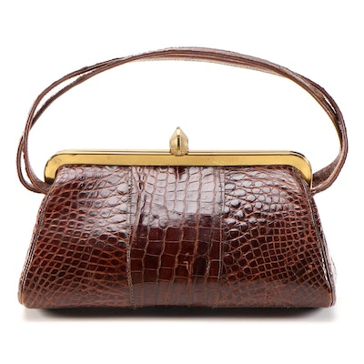 Alligator Skin Triangle Handbag, Mid-20th Century