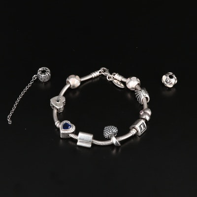 Pandora Charm Bracelet with Heart Theme Charms