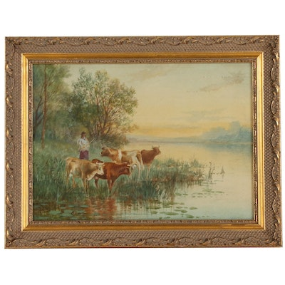 Victor Casnelli Landscape Watercolor Painting with Figure and Cows
