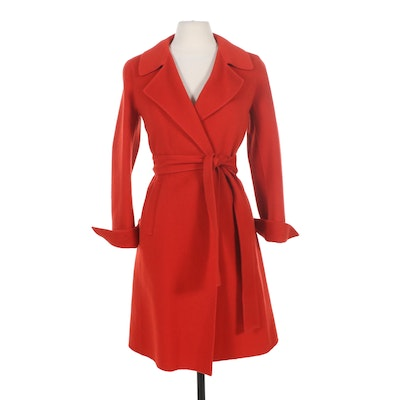 Charles Nolan New York Red Wool Blend Coat with Tie Belt