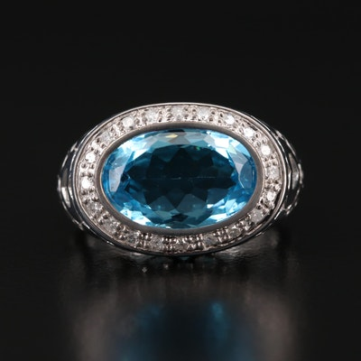 10K Topaz and Diamond Filigree Ring
