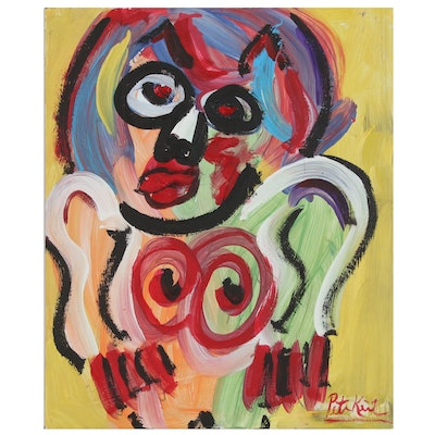 """Abstract Figural Acrylic Painting Attributed to Peter Keil """"She Devil"""", 1987"""