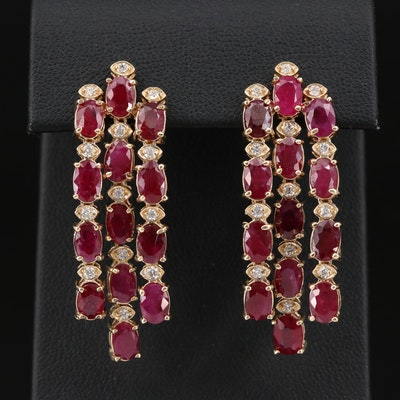 14K Glass Filled Corundum and Diamond Dangle Waterfall Earrings
