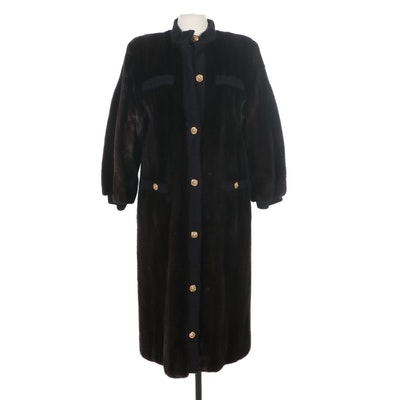 Revillon Mink Fur Coat with Black Knit Trim From Saks Fifth Avenue