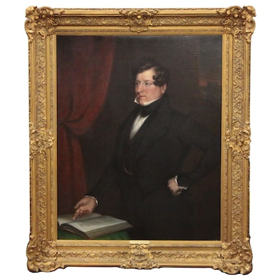Manner of Sir Thomas Lawrence Oil Portrait of Gentleman, Late 19th Century