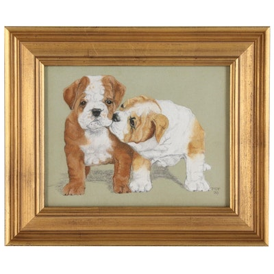 Gouache Painting of English Bulldog Pups, 1970