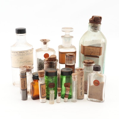 Collection of Vintage Apothecary Bottles, Specimen Bottles and Glass Vials