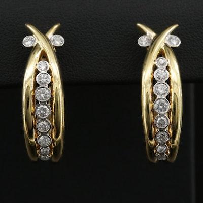 18K Gold 1.02 CTW Diamond Hoop Earrings