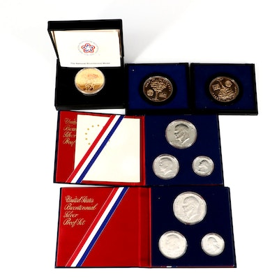 US Mint Bicentennial Silver Proof Sets and Commemorative Medals