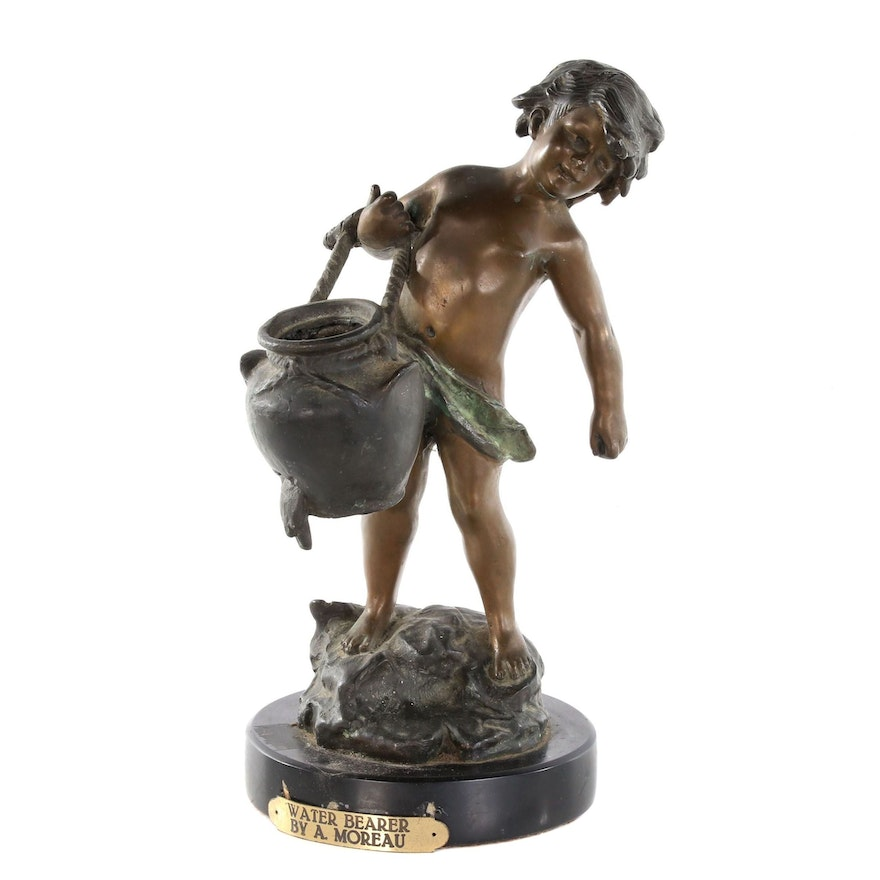 "Spelter Sculpture after Auguste Moreau ""Water Bearer"", Early 20th Century"
