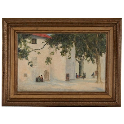 Architectural Landscape Oil Painting, Late 19th to Early 20th Century