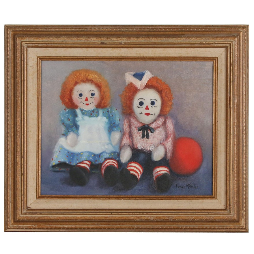 Evelyn M. Phelps Oil Painting of Rag Dolls, Late 20th Century