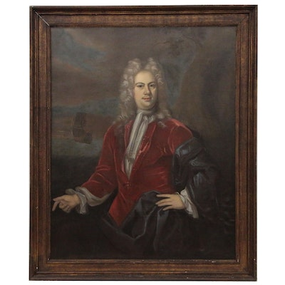 Oil Portrait of English Admiral, Follower of Sir Godfrey Kneller, 18th Century