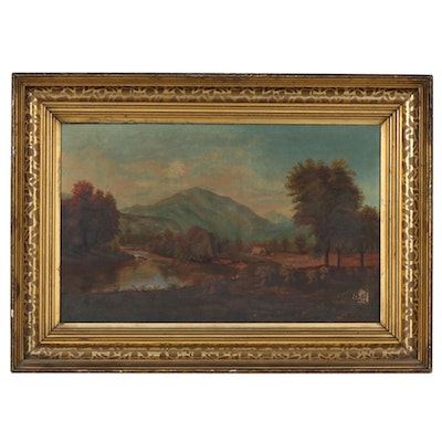 Fall Landscape Oil Painting, Late 19th/Early 20th Century