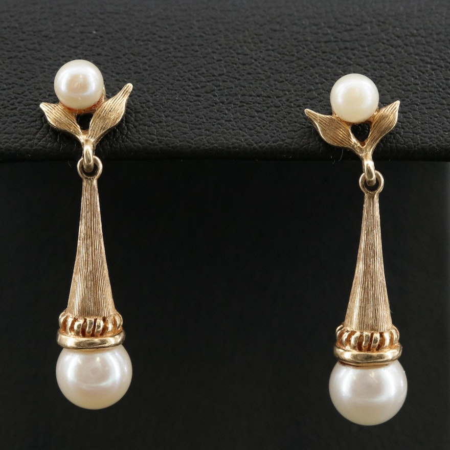 14K Pearl Textured Drop Earrings