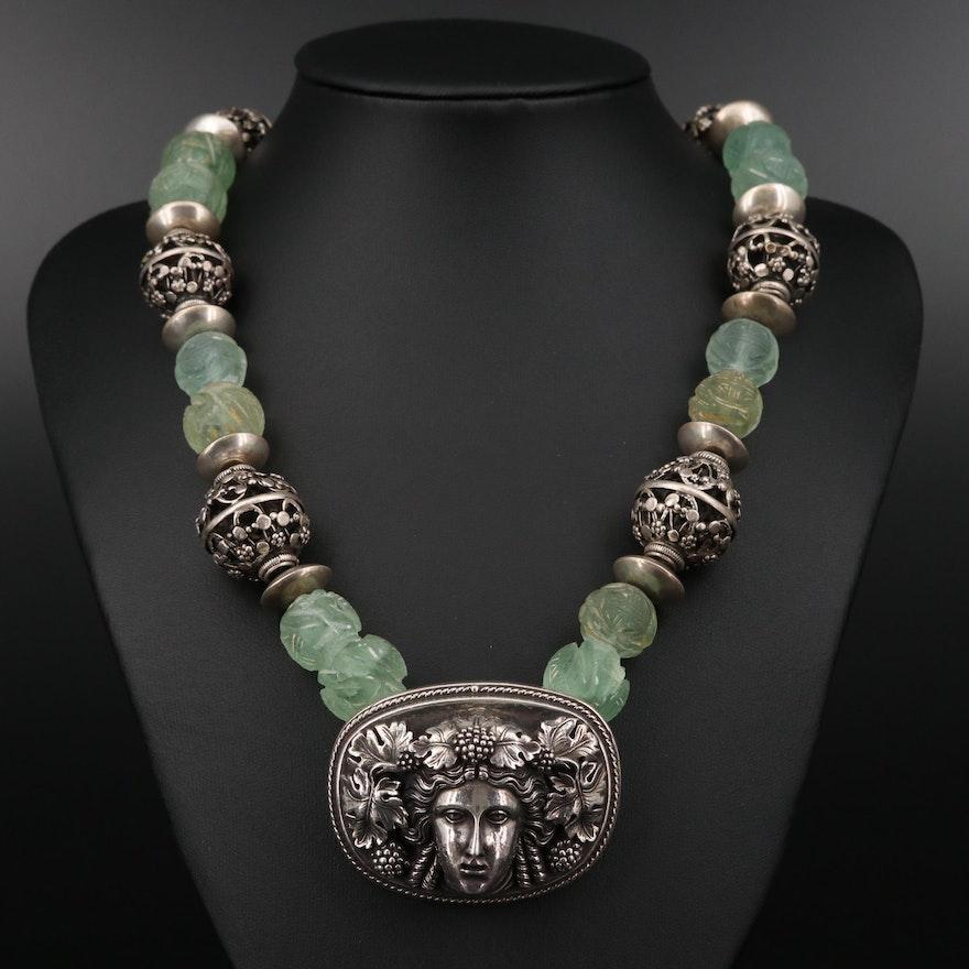 Henryk Winograd Fine Silver Fluorite Bead Pendant Necklace