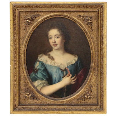 English School Oil Portrait of Lady, Manner of Sir Godfrey Kneller