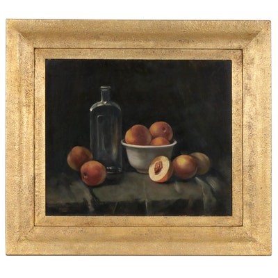 Still Life Oil Painting of Peaches , Early 20th Century