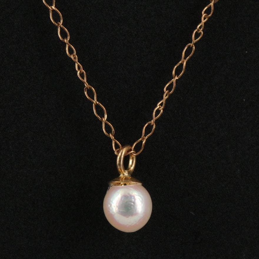 14K Gold Pearl Pendant Necklace