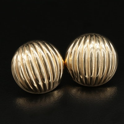 14K Fluted Button Earrings