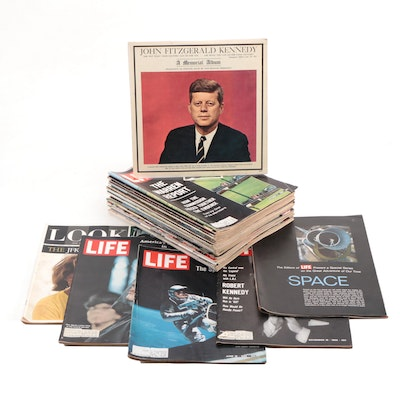 "John F. Kennedy ""A Memorial Album"" Record with ""LIFE"" and ""Look"" Magazines"