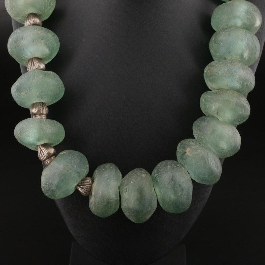 Oversized Heavy Glass Beaded Necklace