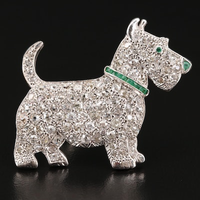 Art Deco French 18K 3.50 CTW Diamond and Emerald Scottie Dog Brooch
