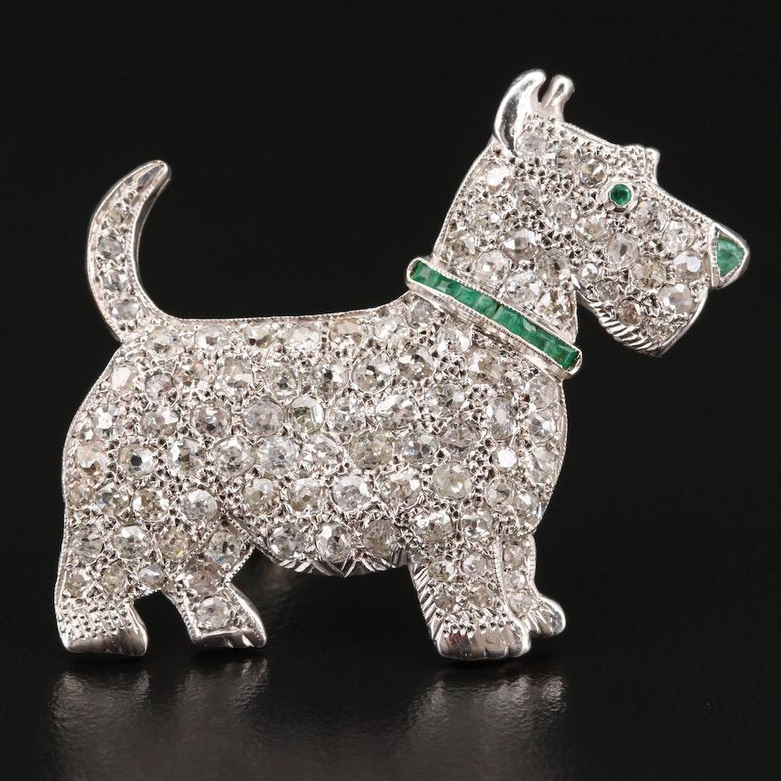 Art Deco French 18K 3.50 CTW Diamond and Emerald Scottie Dog Brooch