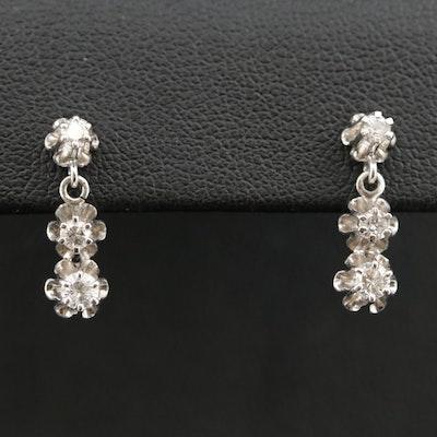Vintage 14K Diamond Buttercup Trio Earrings