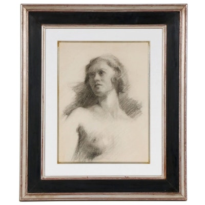 Portrait Charcoal Drawing Attributed Edmund Charles Tarbell , Early 20th Century