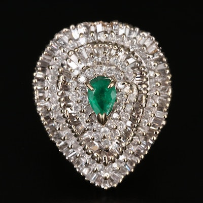 14K Emerald and 3.29 CTW Diamond Cocktail Ring