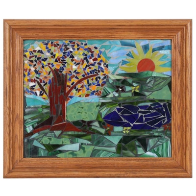 Art Glass Tile Landscape Mosaic Composition, Late 20th Century